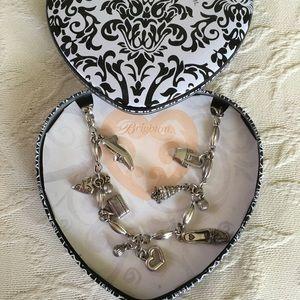 "BRIGHTON Silver Shoe Heart Charm Metal Belt 36"" S"